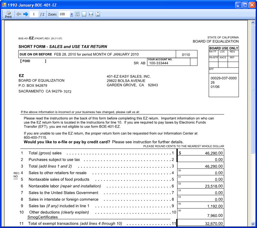 boe 401 ez Callifornia Sales Tax - CSUTAX 2012 Version 10.00