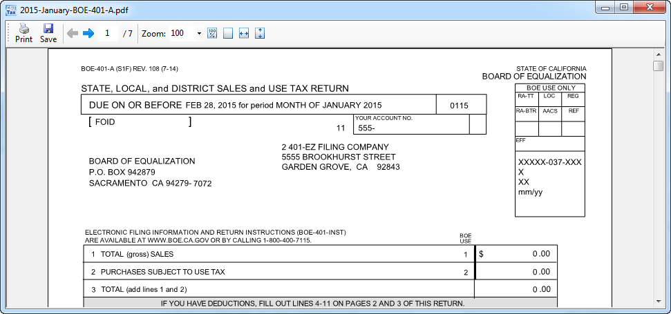 boe 401 ez Sales Tax Preparation Worksheet